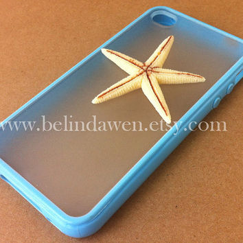 Iphone 4 Case, starfish iphone 4 case, whtie starfish, blue iphone 4 Case, iphone case