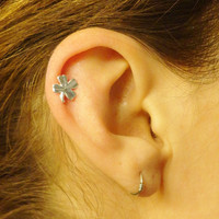 Shamrock Cartilage Earring Four Leaf Clover Tragus Helix Piercing