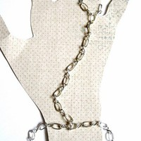 Silver Figure Eight Chain Slave Bracelet with Chain Ring Attached