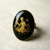 Virgo Zodiac Ring Black Vintage Ring Adjustable by PiggleAndPop