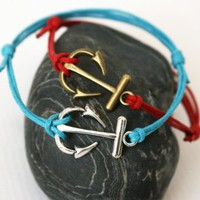 Anchor Charm Bracelet / Anchor Anklet (28 colors to choose)