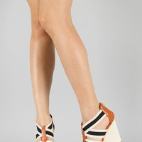 Bamboo Energy-32 Strappy Open Toe Platform Wedge