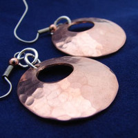 Hammered Copper Disc Earrings Handmade with Round Window