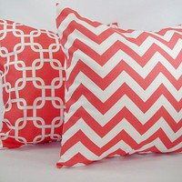 Two Coral Decorative Throw Pillows Coral and White - 16 x 16 inches Throw Pillow Couch Pillow Accent Pillow