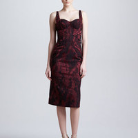 Zac Posen Sleeveless Jacquard Sweetheart Dress, Burgundy