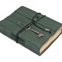 Green Leather Journal with Tea Stained Paper and Skeleton Key Bookmark