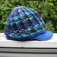 Chunky ribbed crochet slouchy newsboy tam hat in Northern Sea, ready to ship.