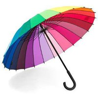 COLOR WHEEL STICK UMBRELLA | Rainbow, Cane, Handle | UncommonGoods