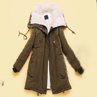 Women Thicken Fleece Warm Winter Coat Hood Parka Zip Overcoat Long Jacket XS-L