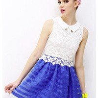 Lapel lace crochet stitching horizontal stripes organza skirt