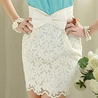 Embroidered lace elegant noble bowknot Short skirts