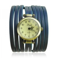 Blue Multi thin Leather Wraps Watches