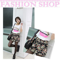 2013 Fashion Printed Floral Pattern Chiffon Skirt Divided Culottes Pants Shorts