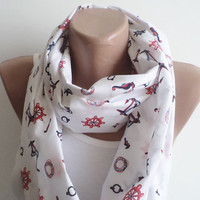 Infinity Scarf,  Loop Circle, sailor-patterned  scarf, Spring Accessory, women scarf, mothers day gifts, women accessories, scarves, scarf.