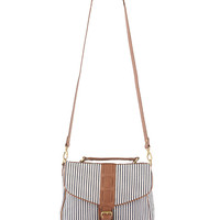 Striped & Leatherette Handbag