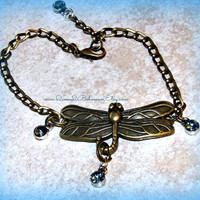 Ankle Dragonfly with Chain, Adjustable, Direct Checkout ,Mothers Day Jewelry, Anklet