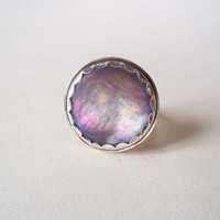 Pearl Shell Ring Vintage Purple Button Cocktail by CStarStudio