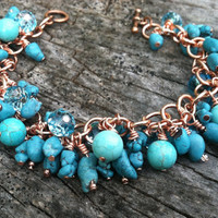 Turquoise and Crystal Cluster Bracelet, Mother's Day Gift