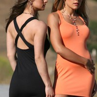 M612 Orange Criss Crossed Sex Appeal Dress, Size: LL