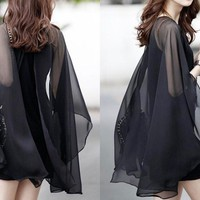 Black Long-sleeved Chiffon Blouse
