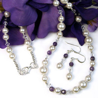 White Pearl Amethyst Necklace Earrings Set Swarovski Wedding Prom OOAK