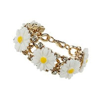 Daisy and Rhinestone Bracelet