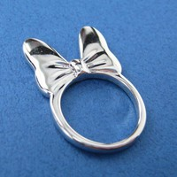 ONE DOLLAR SALE - Minnie Mouse Bow Tie Ring in Silver - Sizes 5 and 6