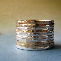 10 mixed metal stacking rings. 14k gold filled & sterling silver. Artisan handmade simple modern jewelry. Versatile texture. Gift for her.