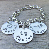 Personalized Charm Bracelet 3 Discs Hand Stamped Aluminum Stainless Steel Made to Order Tell YOUR Story