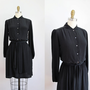 vintage black SILK long sleeve mini dress rounded by secretlake