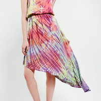 Blu Moon Asymmetrical Tie-Dye Maxi Dress