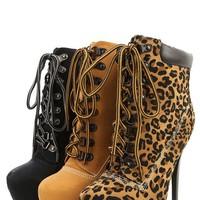 Alba Jennifer-1 Tan Lace Up Platform Ankle Boots and Shop Boots at MakeMeChic.com