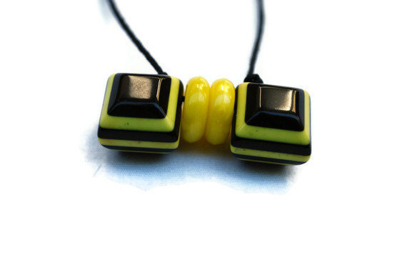 Yellow and Black Geometric Bee Inspired Beaded OOAK by chumaka