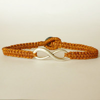 Brown Infinity Bracelet - Gift under 15 - Gift for Him - Unisex - Brown Wax Cord Bracelet
