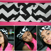 Black and White Chevron Head-wrap (Turban, Headband)