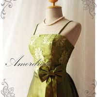 Princess Romance - Olive Green Lace Dress Gorgeous Party Prom Bridesmaid Wedding Cocktail Dinner Evening Dress