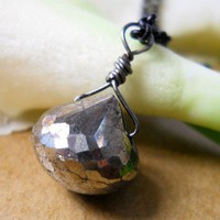 AAA PYRITE Onion Briolette Pendant Necklace, Matte Black Rolo Chain