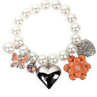 charm bracelet with heart and flower charms - 1000046726 - debshops.com