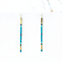 TOTEM IV - Geometric, Hand-Painted Earrings in Teal, Turquoise, Red, and Raw Brass