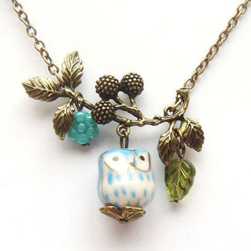 Antiqued Brass Branch Flower  Porcelain Owl by gemandmetal on Etsy