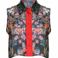 LOVE Demi Print Cropped Collar Shirt - Love