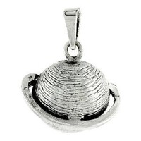 "Sterling Silver Flawless Quality Planet Saturn Pendant, 11/16"" (12mm) tall"