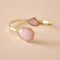 Gold Bangle Bracelet with Purple Pink Double Stone Detail
