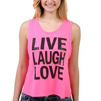 tulip back tank top with &quot;live laugh love&quot; screen print - 1000048143 - debshops.com
