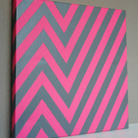 Modified Chevron Painting 12 x 12 Canvas by PaperHeartsCouncil