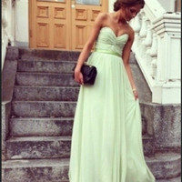 Glamorous Sage Sweetheart Floor Length Prom Dress/Graduation Dress