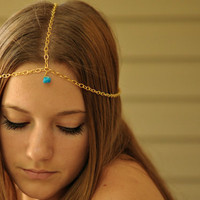 Gold Chain Head Piece with Turquoise Bead by NativeLivingJewelry