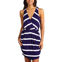 BCBGeneration Draped Pocket Striped Dress at 6pm.com