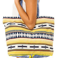 RVCA Tote Bag Canyon Foldaway in Denim Tribal Multi