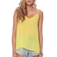 Laced and Strung Tank Top in Lemon :: tobi